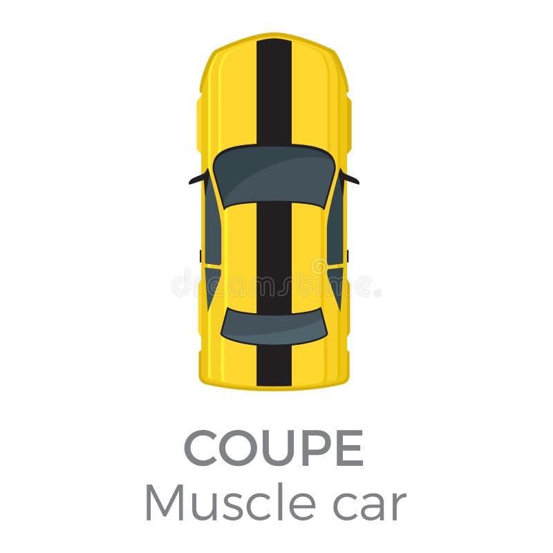 肌肉汽车小轿车顶视图平的传染媒介象 库存例证