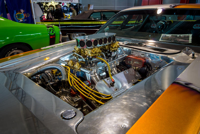 肌肉汽车推托挑战者赞成Street的引擎, 1970年 免版税库存图片