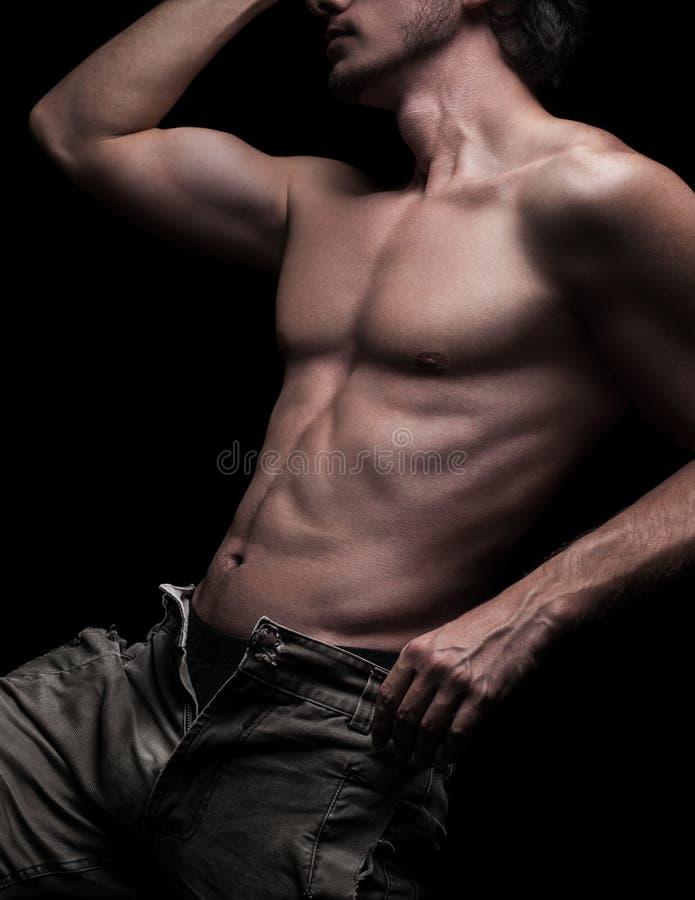 肌肉男性身体 免版税库存照片