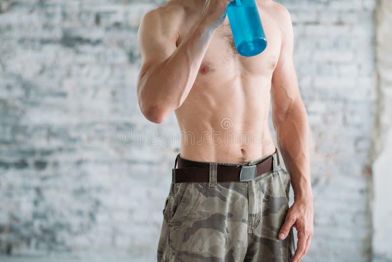 肌肉男性躯干训练适合了运动光秃的胸口 免版税库存照片