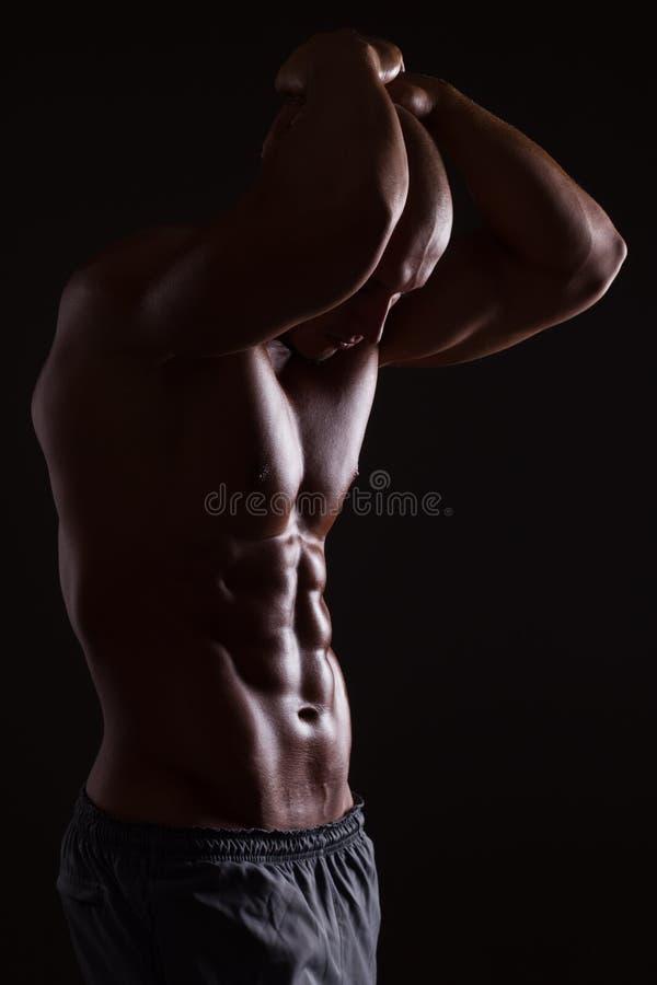 肌肉男性躯干 免版税库存照片