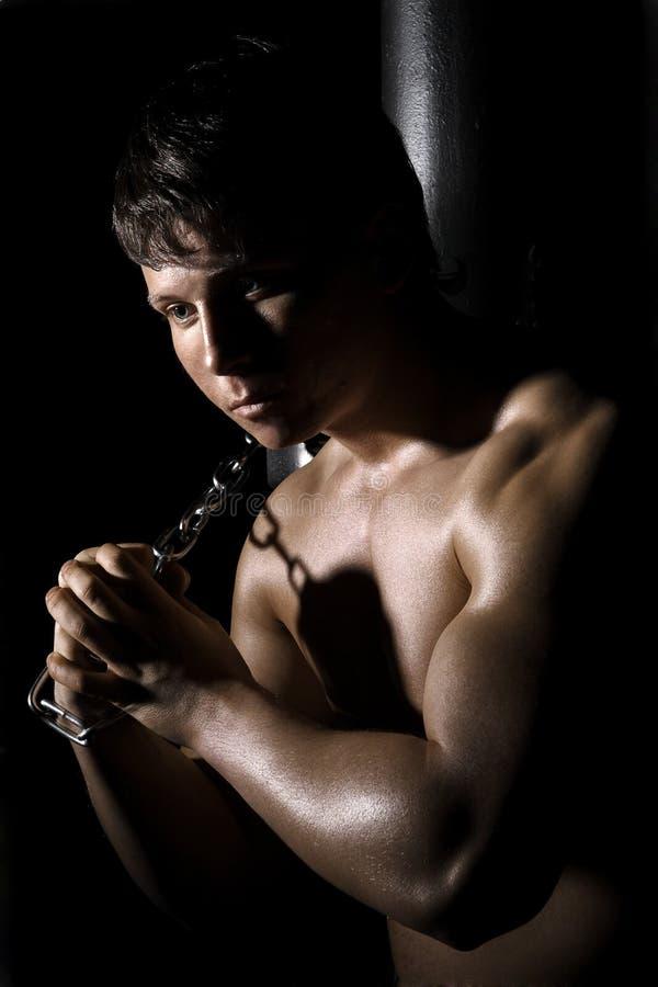 肌肉的司链员 库存图片