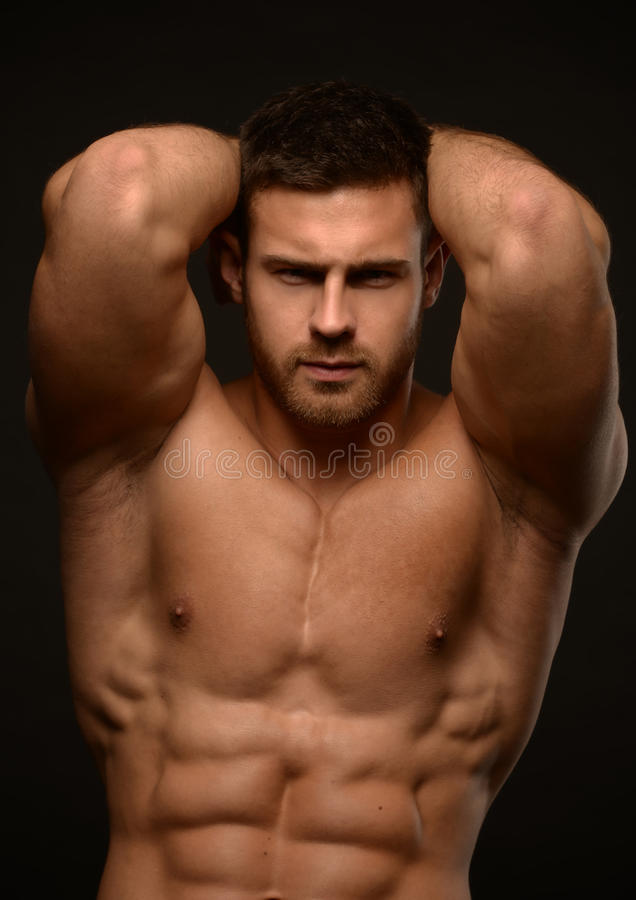 肌肉的男性式样康斯坦丁卡梅宁 免版税库存图片