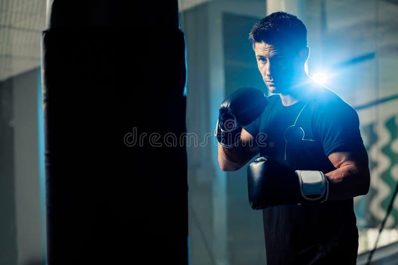 肌肉英俊的拳击战斗机 免版税图库摄影