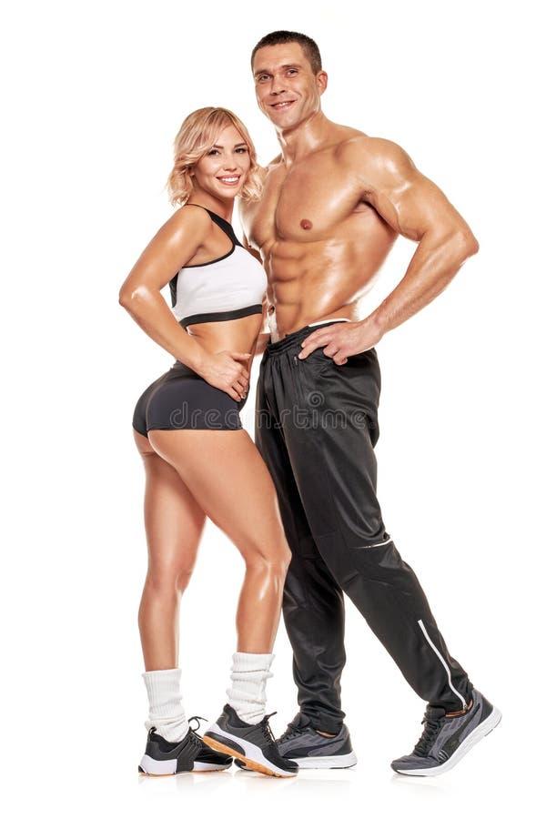 肌肉运动的夫妇 免版税库存照片