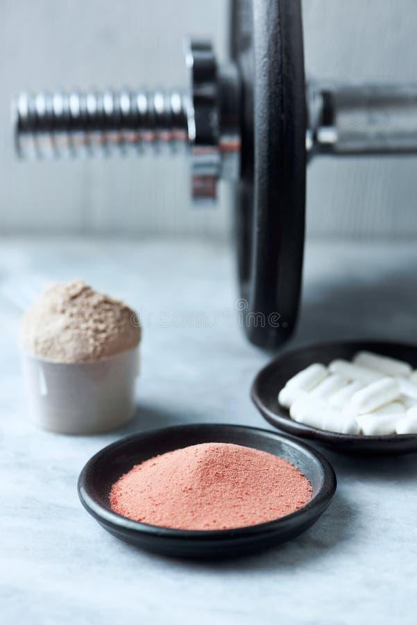 肌酸乳清蛋白粉末、瓢,Beta胺基代丙酸胶囊和一个哑铃在背景中 免版税库存图片