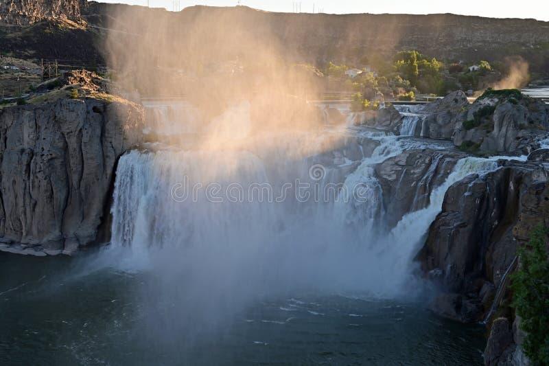 肖松尼人秋天在特温福尔斯,爱达荷 库存图片