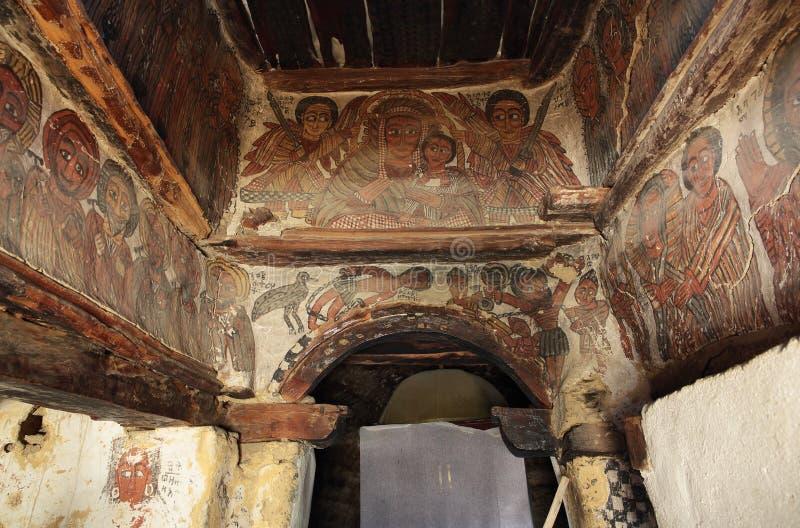 肖象的场面在佩特罗斯我们保罗斯教会在提格雷雷希奥 免版税库存图片