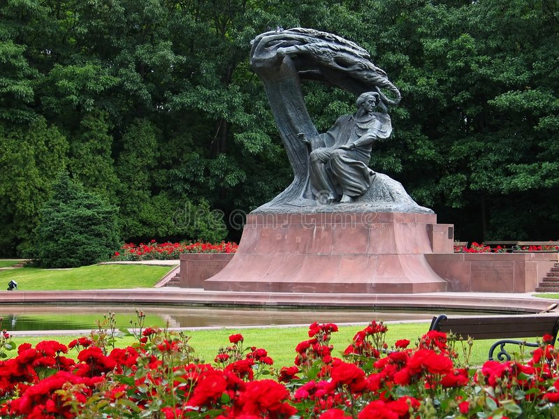 肖邦・ frederic纪念碑波兰华沙 免版税库存图片