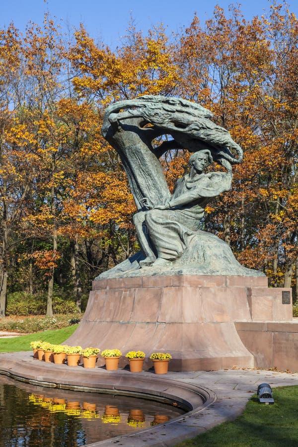 肖邦雕象,华沙,波兰 图库摄影