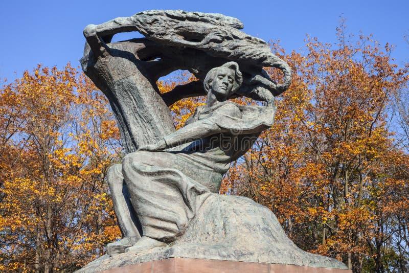 肖邦雕象,华沙,波兰 库存照片