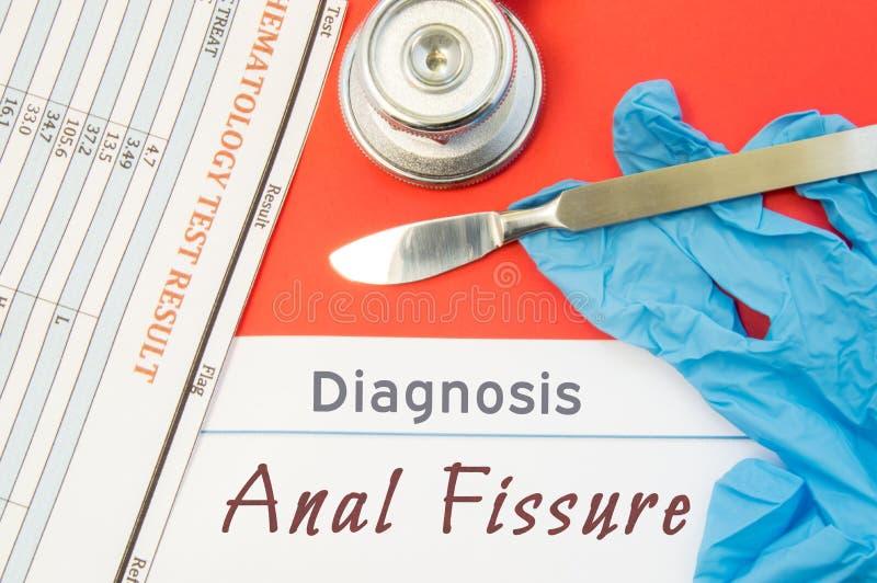 肛门裂痕外科诊断  外科医疗仪器解剖刀,乳汁手套,验血分析在文本i旁边的谎言关闭 库存图片