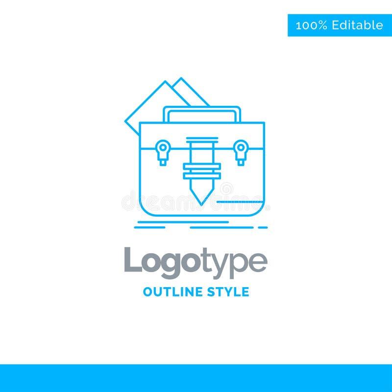 股份单的,袋子,文件,文件夹,公文包蓝色商标设计 Bu 库存例证