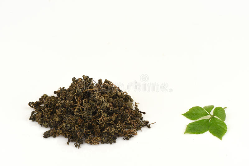 绞股兰中国名字Gynostemma pentaphyllum Thunb干燥的Makino和叶子 图库摄影