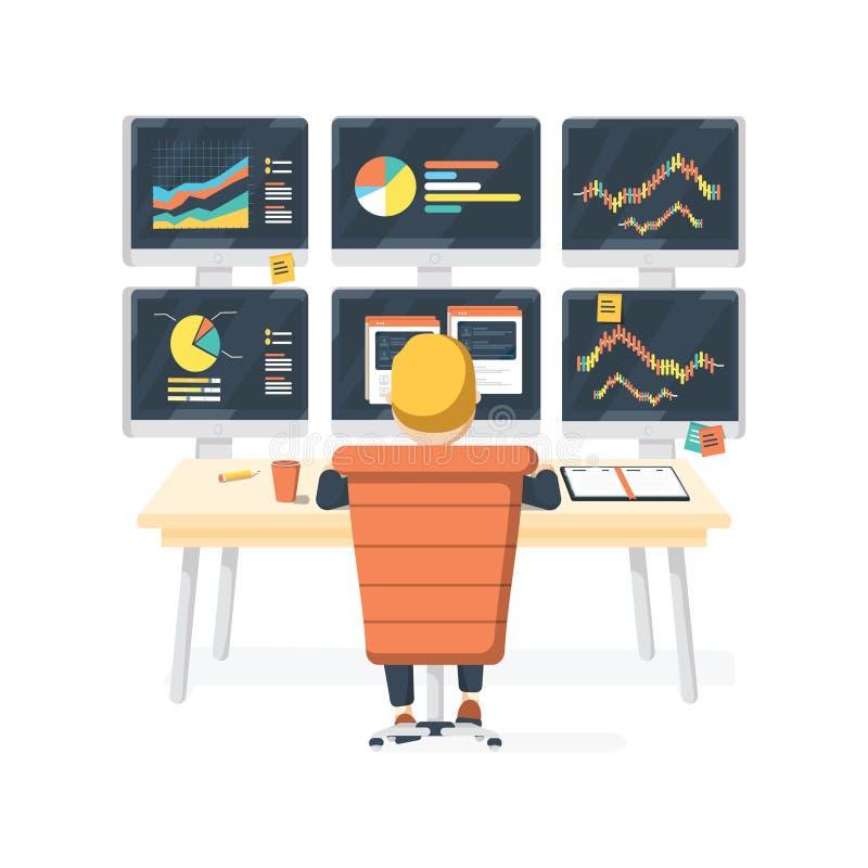 股市交换贸易商坐在有六显示的书桌的运作的销售的和买的产权 皇族释放例证