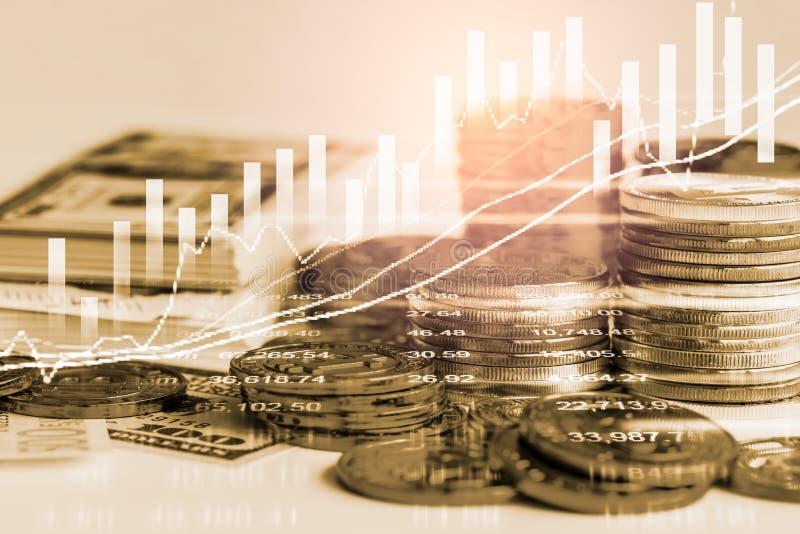 股市或外汇贸易的图表和烛台绘制适用于图表金融投资概念 经济趋向背景为 库存例证