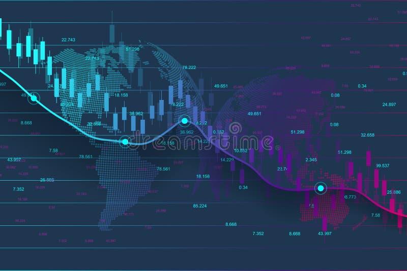 股市或外汇贸易的图表图适用于金融投资概念 经济趋向背景为 向量例证