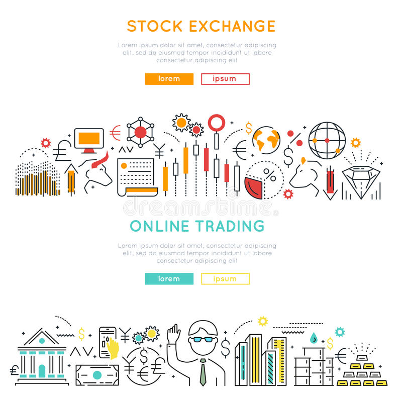 股市线性横幅 向量例证