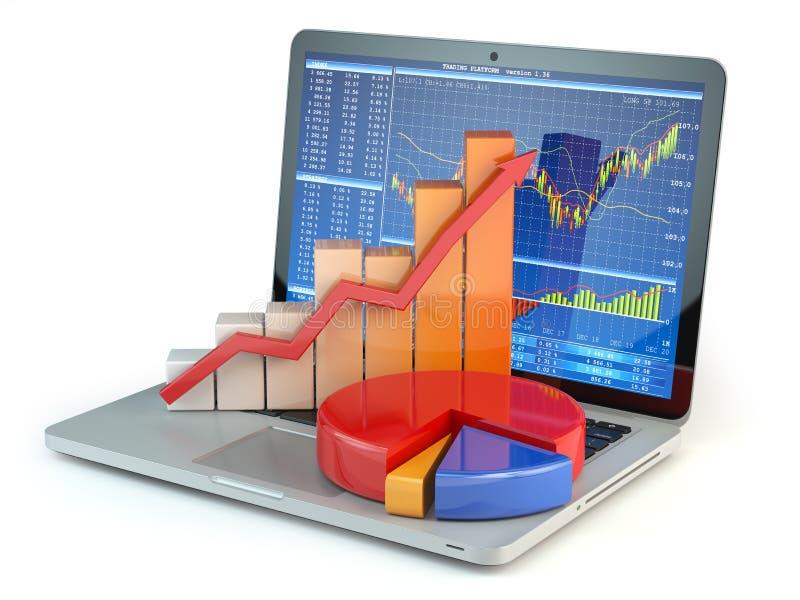 股市网上企业概念 图表和图在lapto 向量例证