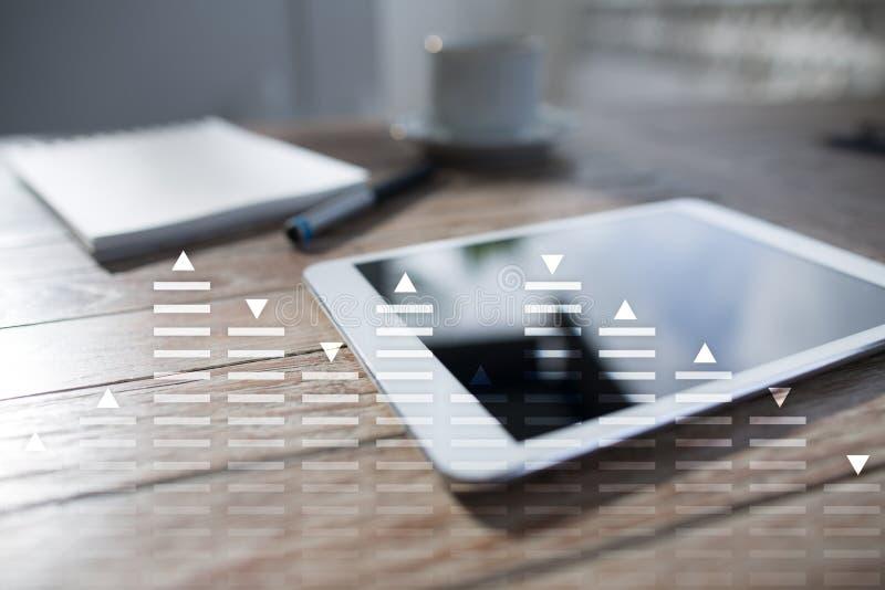股票交易,数据分析图,图,在虚屏上的图表 企业和技术概念 图库摄影