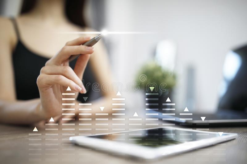 股票交易,数据分析图,图,在虚屏上的图表 企业和技术概念 库存图片