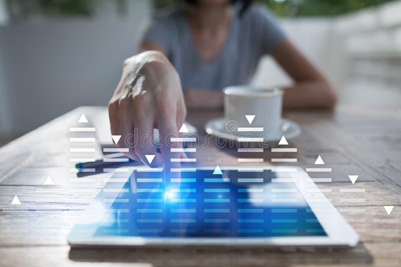 股票交易,数据分析图,图,在虚屏上的图表 企业和技术概念 免版税库存图片