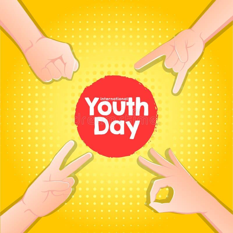 股票传染媒介国际青年天,8月12日手在黄色背景 皇族释放例证