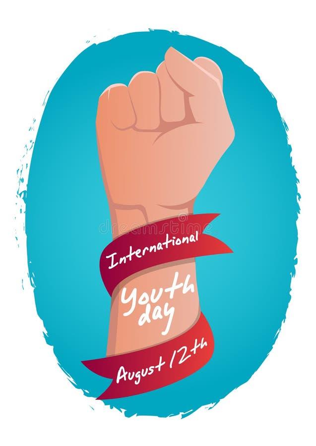 股票传染媒介国际青年天,8月12日有丝带的拳头有在背景 向量例证