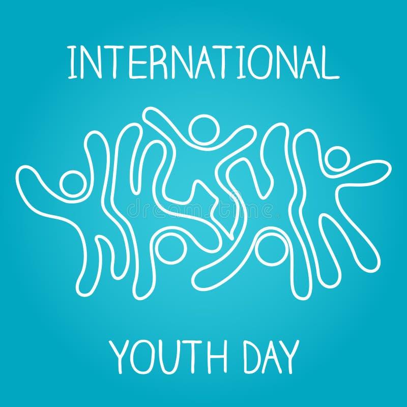 股票传染媒介国际青年天,8月12日跳跃和跳舞在蓝色背景的偶象象 皇族释放例证