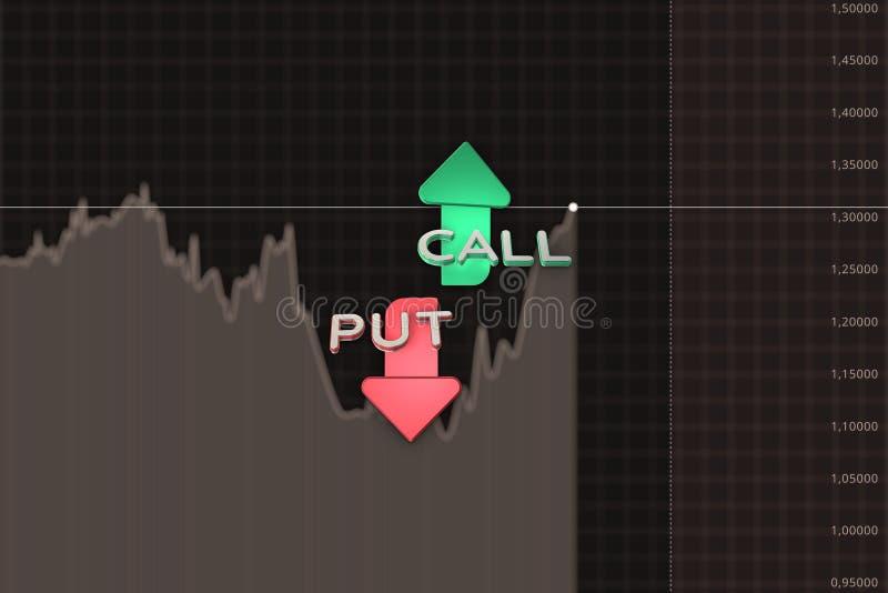 股票出售和购买的在褐色的颜色箭头二进制选择图 3d例证 库存例证