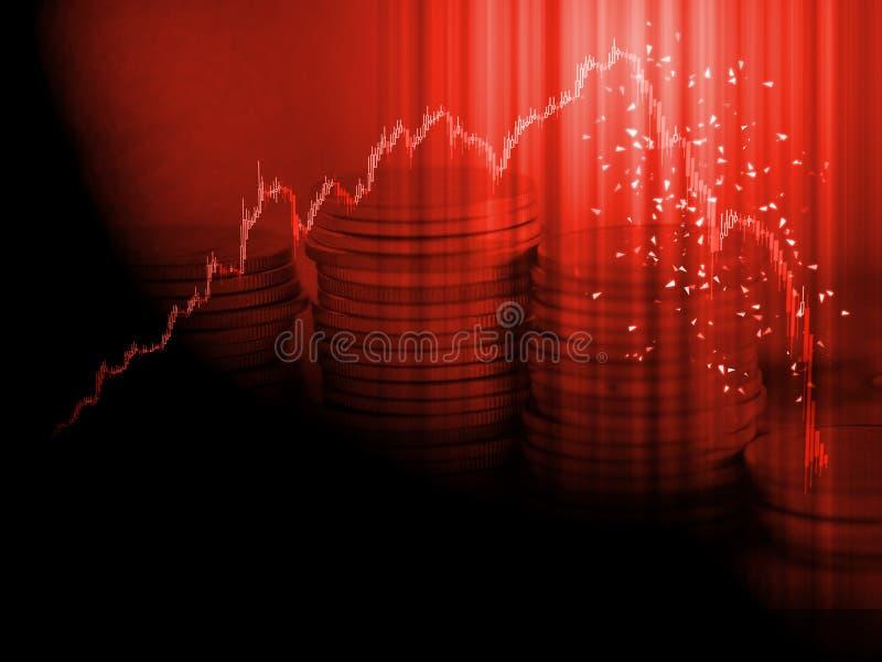 股票市场图恐慌出售概念 红色蜡烛黏附图表命中峰顶显著然后价格下跌下来与堆硬币堆 免版税库存图片