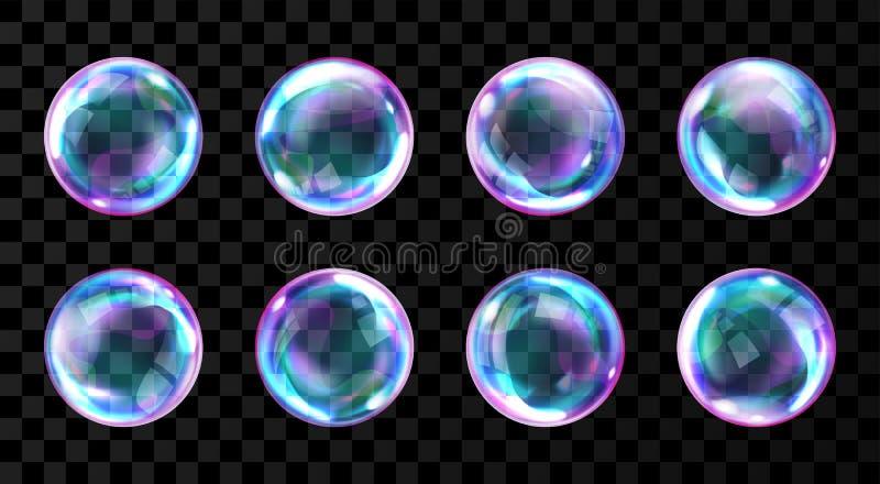 肥皂与反射的彩虹泡影 向量例证