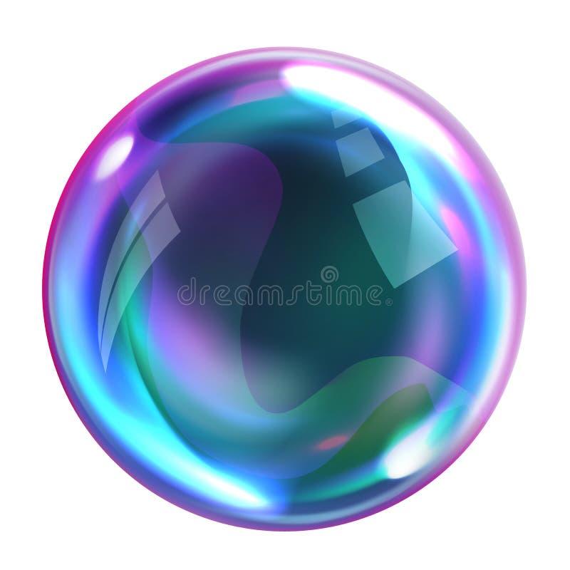 肥皂与反射的彩虹泡影 库存例证