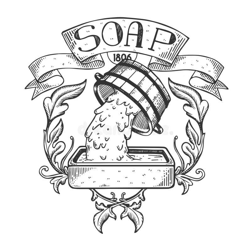 肥皂制造商葡萄酒象征板刻传染媒介 向量例证