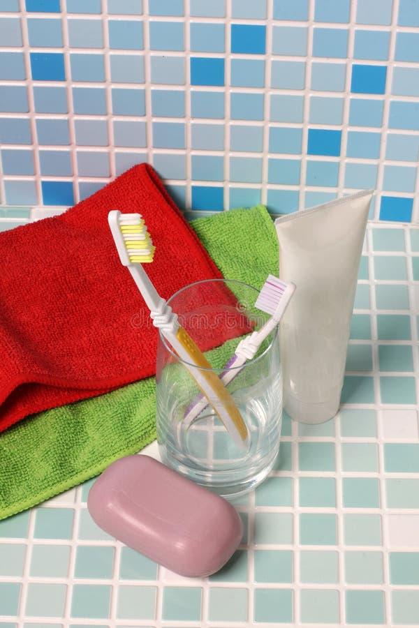 肥皂和牙刷两 库存照片
