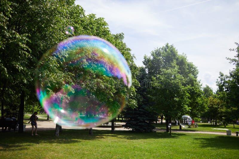 肥皂泡飞行在公园 库存图片