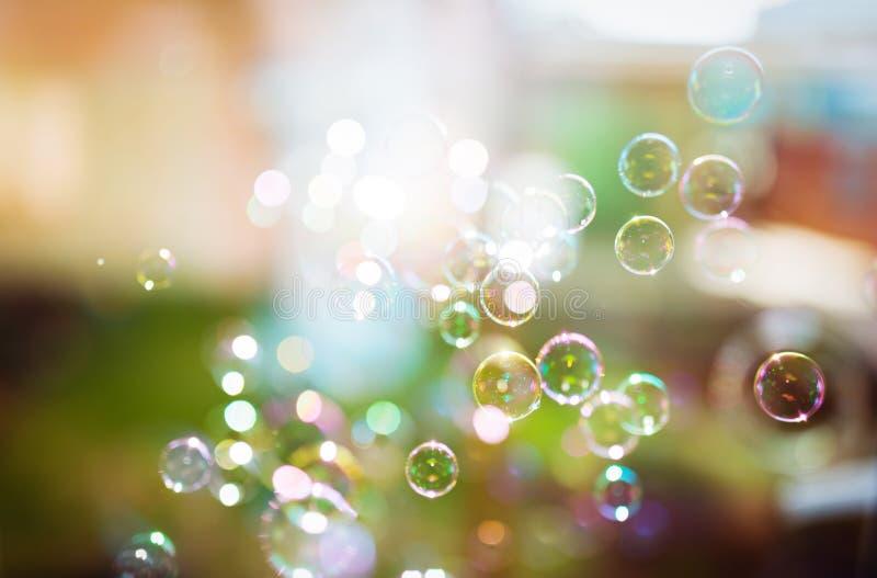 肥皂泡,抽象背景 库存图片