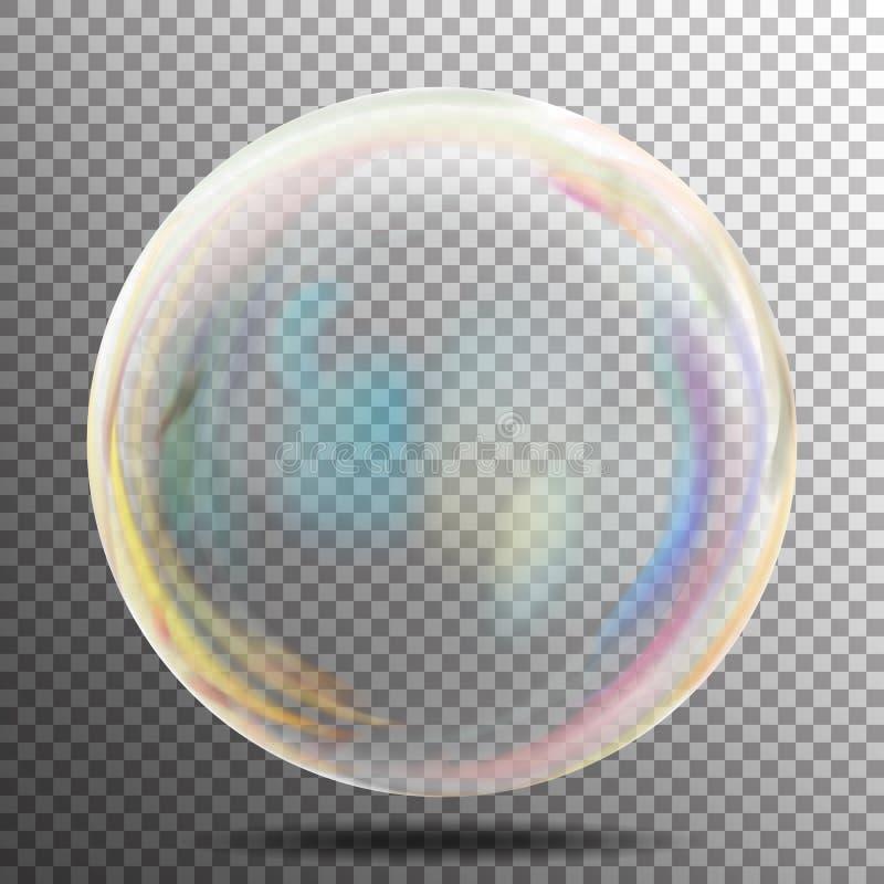 肥皂泡 与彩虹反射的透明现实泡影 准备适用于您的设计 把元素进行下去 传染媒介illu 皇族释放例证