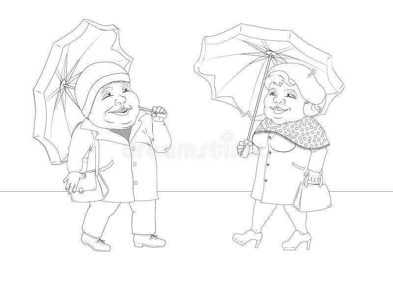 肥胖人民在秋天,黑白图象在雨中被找到 皇族释放例证