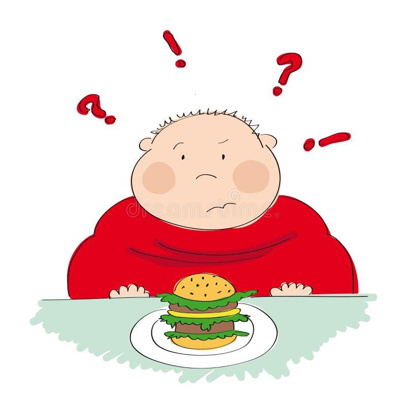 肥胖人用汉堡包,设法决定是否吃它 向量例证