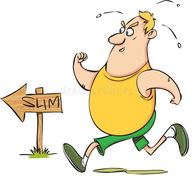 肥胖人运行 向量例证