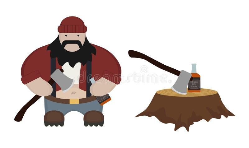 肥胖伐木工人 库存例证