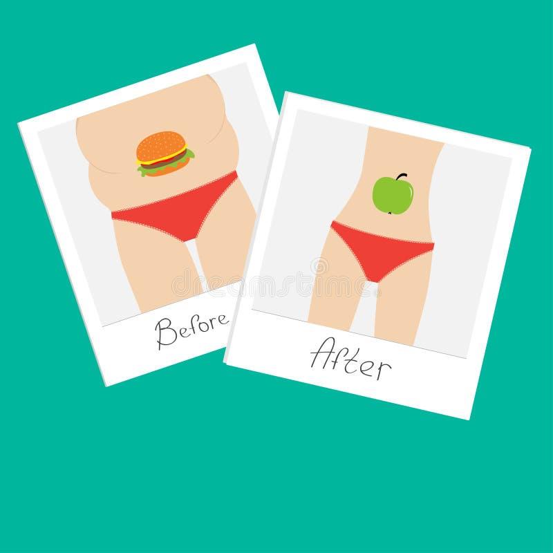 从肥胖到皮包骨头的妇女 以前健康不健康的食物苹果汉堡包在立即照片以后 平的设计 皇族释放例证