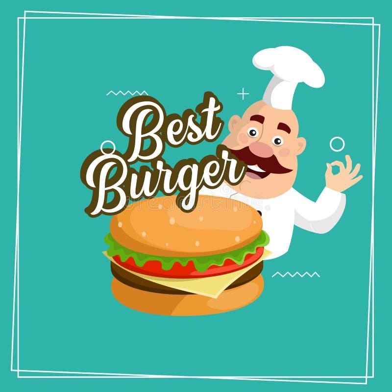肥胖动画片厨师最佳的汉堡贴纸商标平的传染媒介例证设计 皇族释放例证