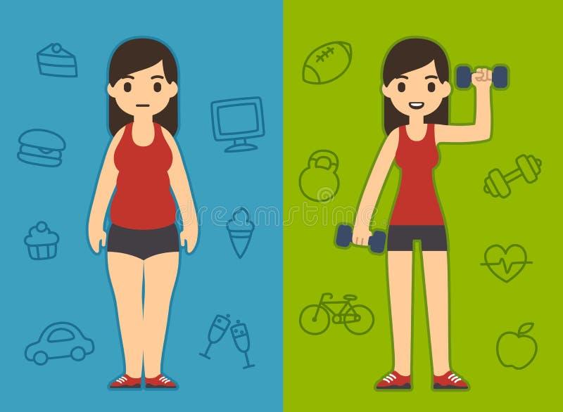 肥胖和适合的女孩 向量例证