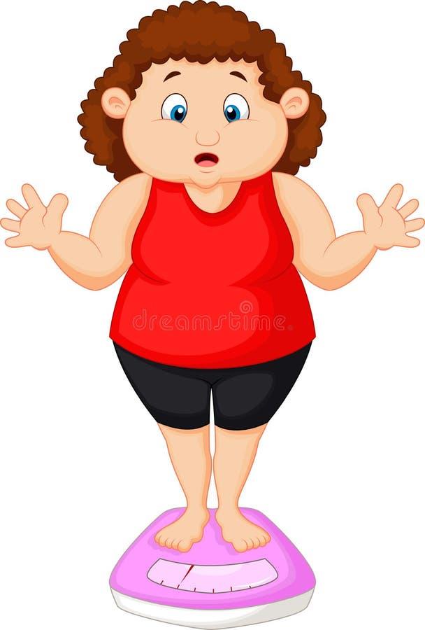 肥胖妇女动画片非常担心与她的重量 皇族释放例证