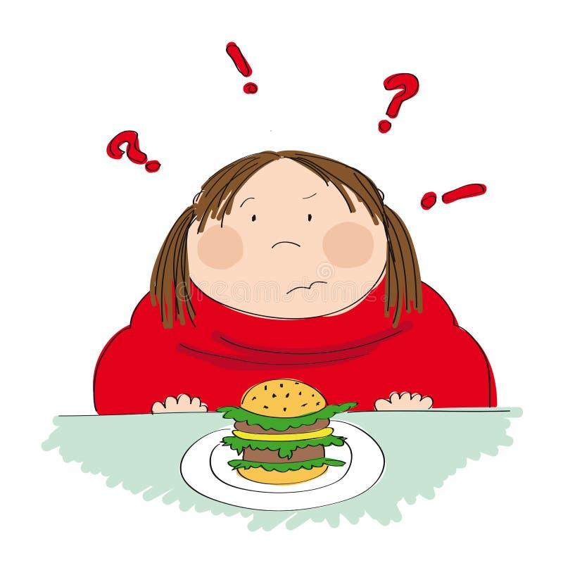 肥胖妇女用汉堡包,设法决定是否吃它 皇族释放例证