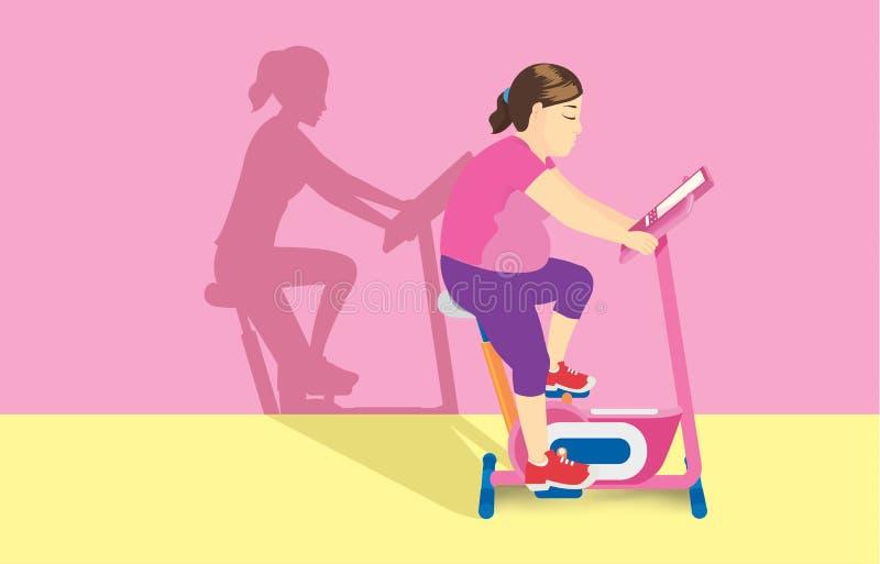 肥胖妇女行使在固定式自行车的,但是她的阴影看起来一个亭亭玉立的身体 向量例证