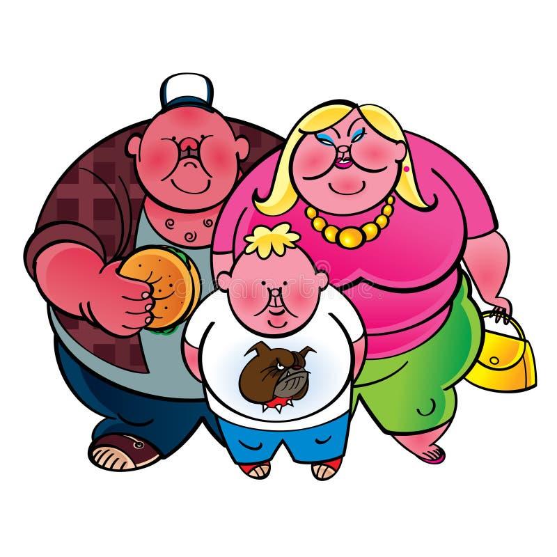 肥胖家庭 库存例证
