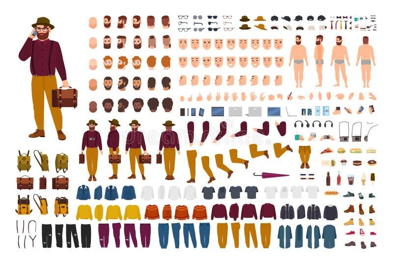 肥胖或壮健人建设者集合或DIY成套工具 捆绑平的卡通人物身体局部以各种各样的姿势,时髦 皇族释放例证